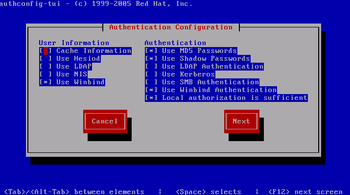 authconfig-tui setup for active directory