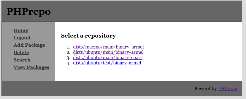 PHPrepo repository list