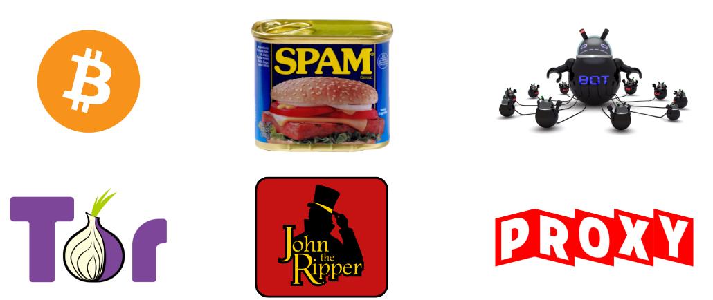 Mine Bitcoins, Send Spam, Botnet, Tor node, Password Cracking, Proxy
