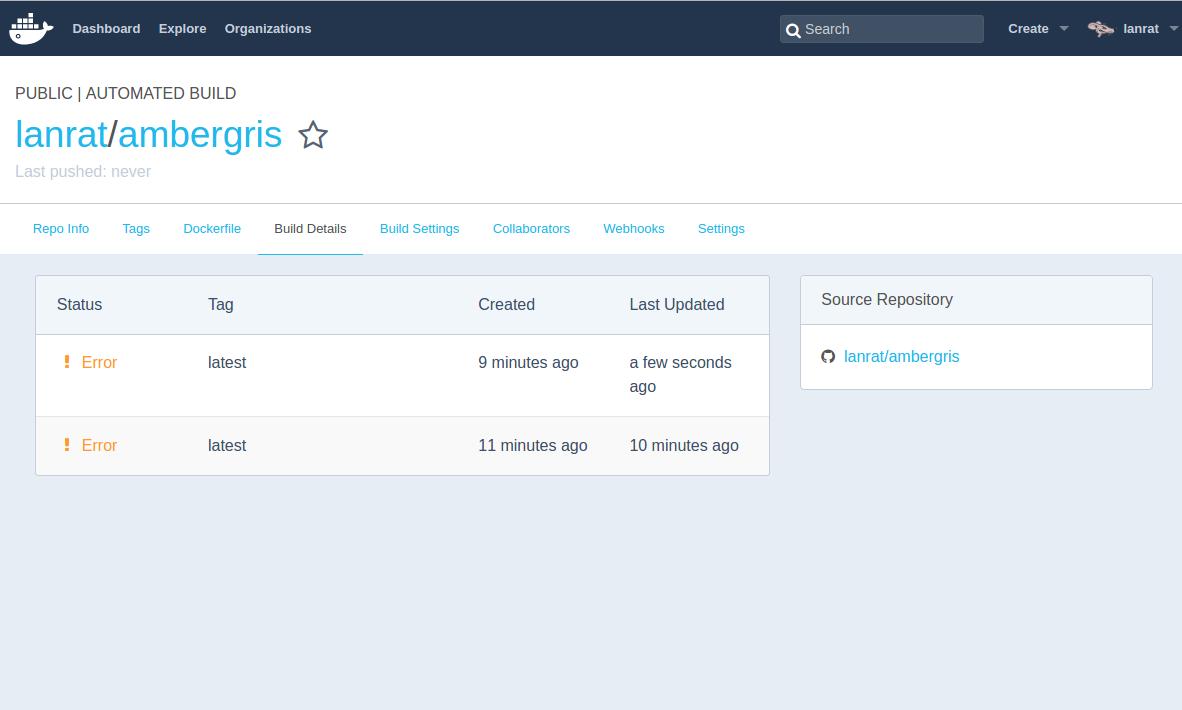 Docker Hub Ambergris Screenshot